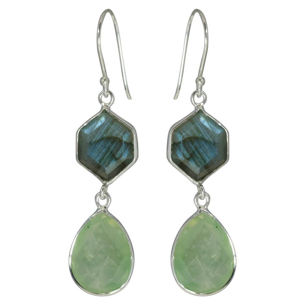 Prehnite Green Earring Drop Cute Trendy Pretty Affordable