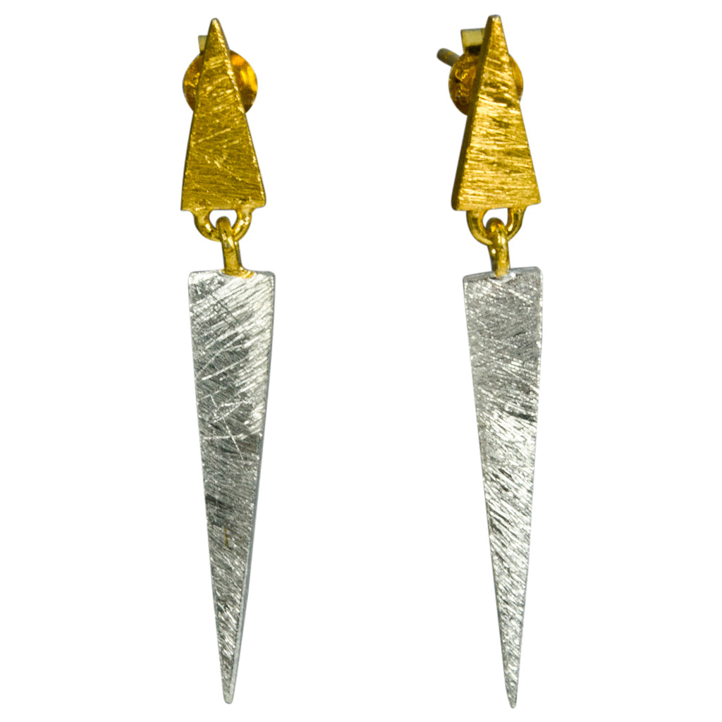 Sterling Silver Vermeil Two-toned Gold Spike Triangle Dangle Edgy Post Stud