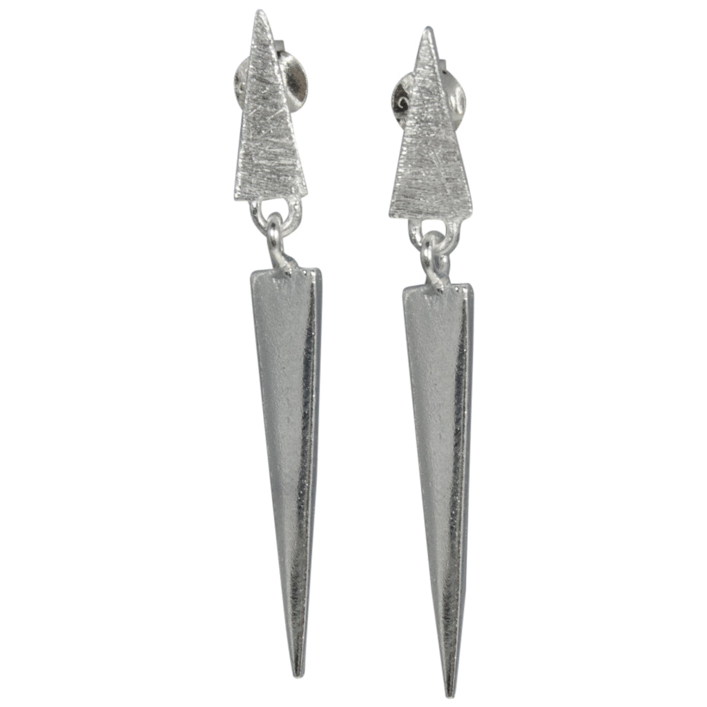 Sterling Silver Post Stud Dangle Edgy Spike Triangle