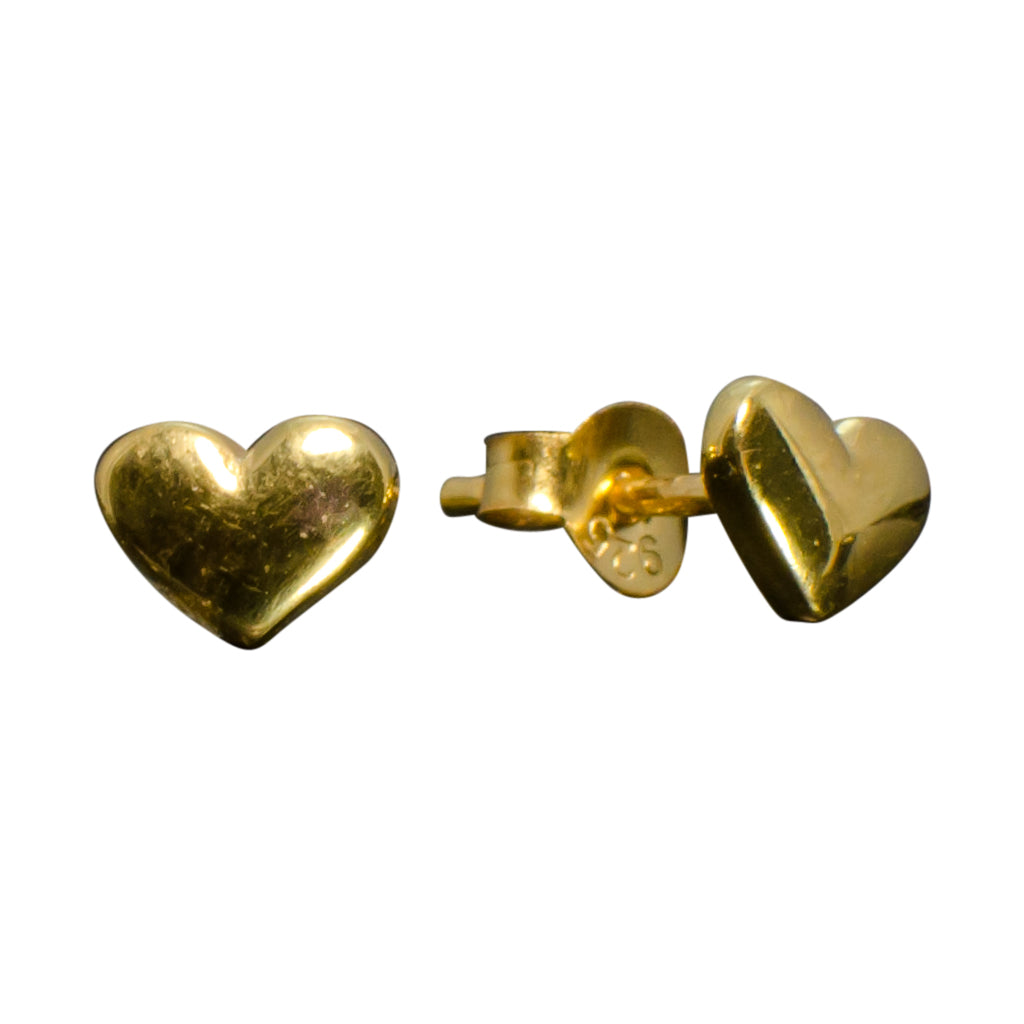 Heart Gold Vermeil Stud Cute Simple Polished Post