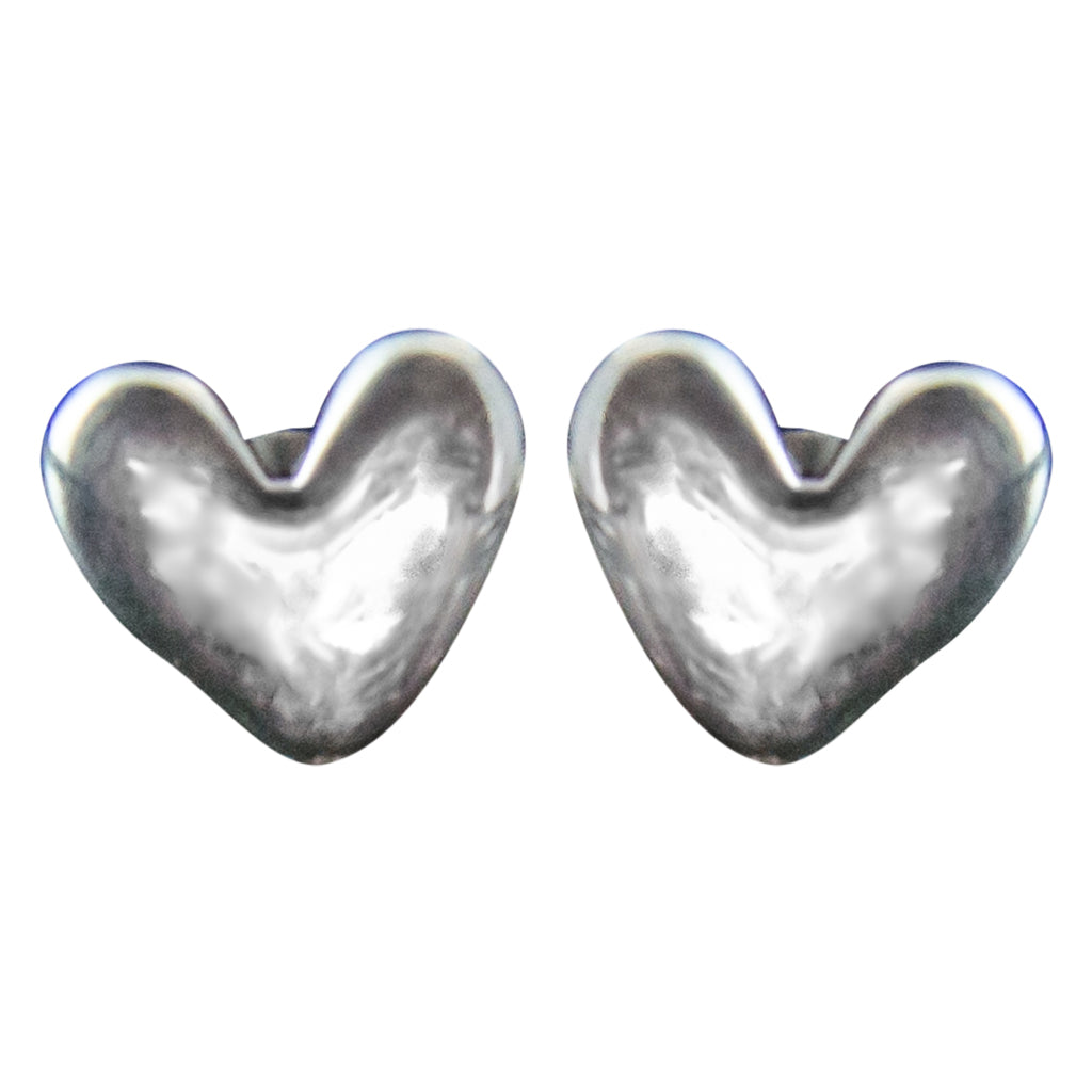 Heart Sterling SIlver Stud Cute Simple Brushed Post
