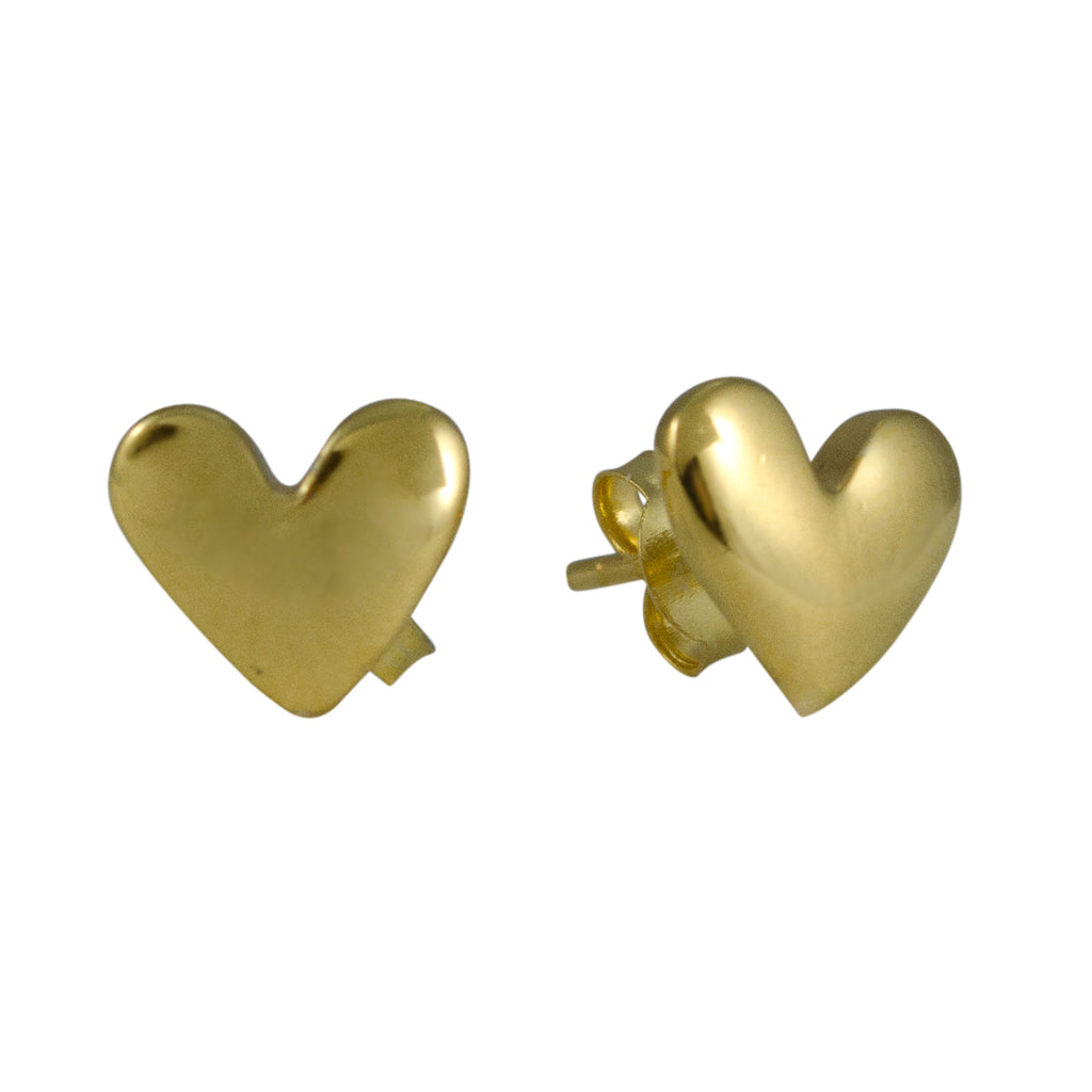 Heart Gold Vermeil Stud Cute Simple Brushed Post
