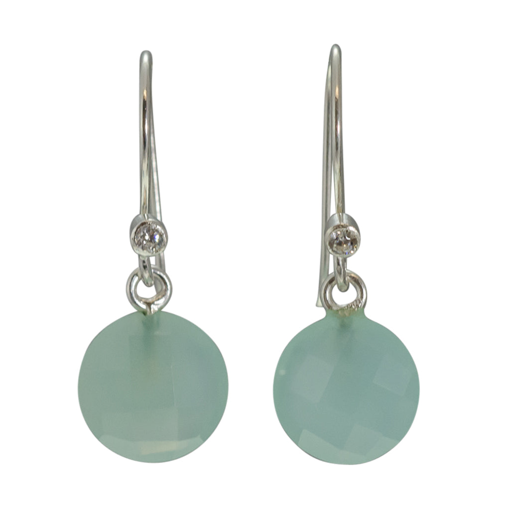cute simple chalcedony light blue green mint silver dangle circle earrings