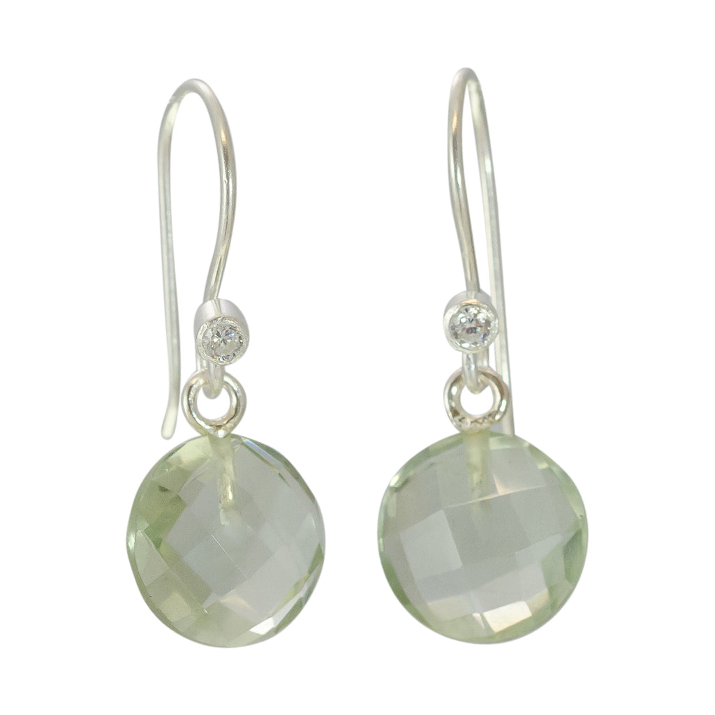 cute simple green amethyst silver dangle circle earring