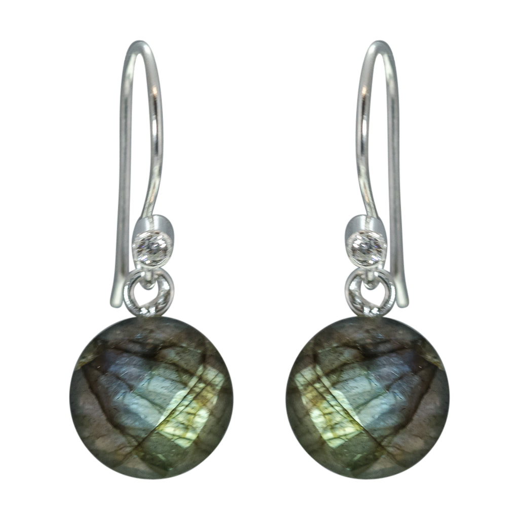 cute simple labradorite green blue silver circle dangle earrings