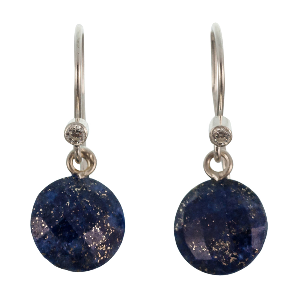 cute simple lapis navy blue silver circle dangle earrings