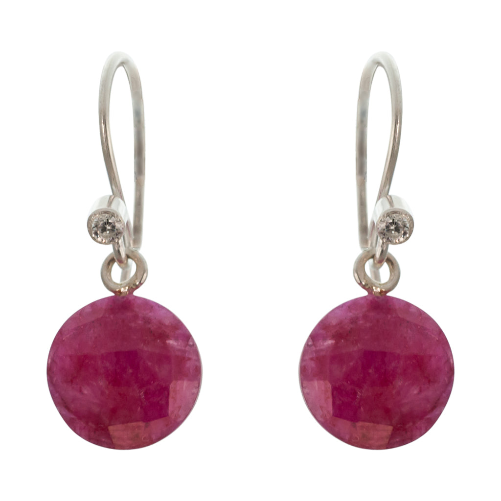 cute simple ruby pink silver circle dangle earring
