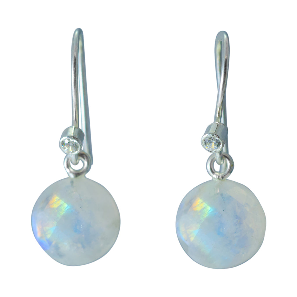cute simple rainbow moonstone silver circle dangle earring
