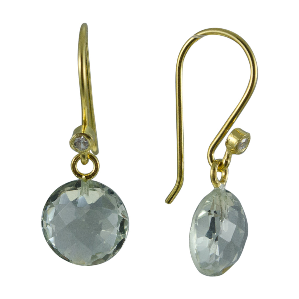 cute simple green amethyst vermeil gold dangle circle earring