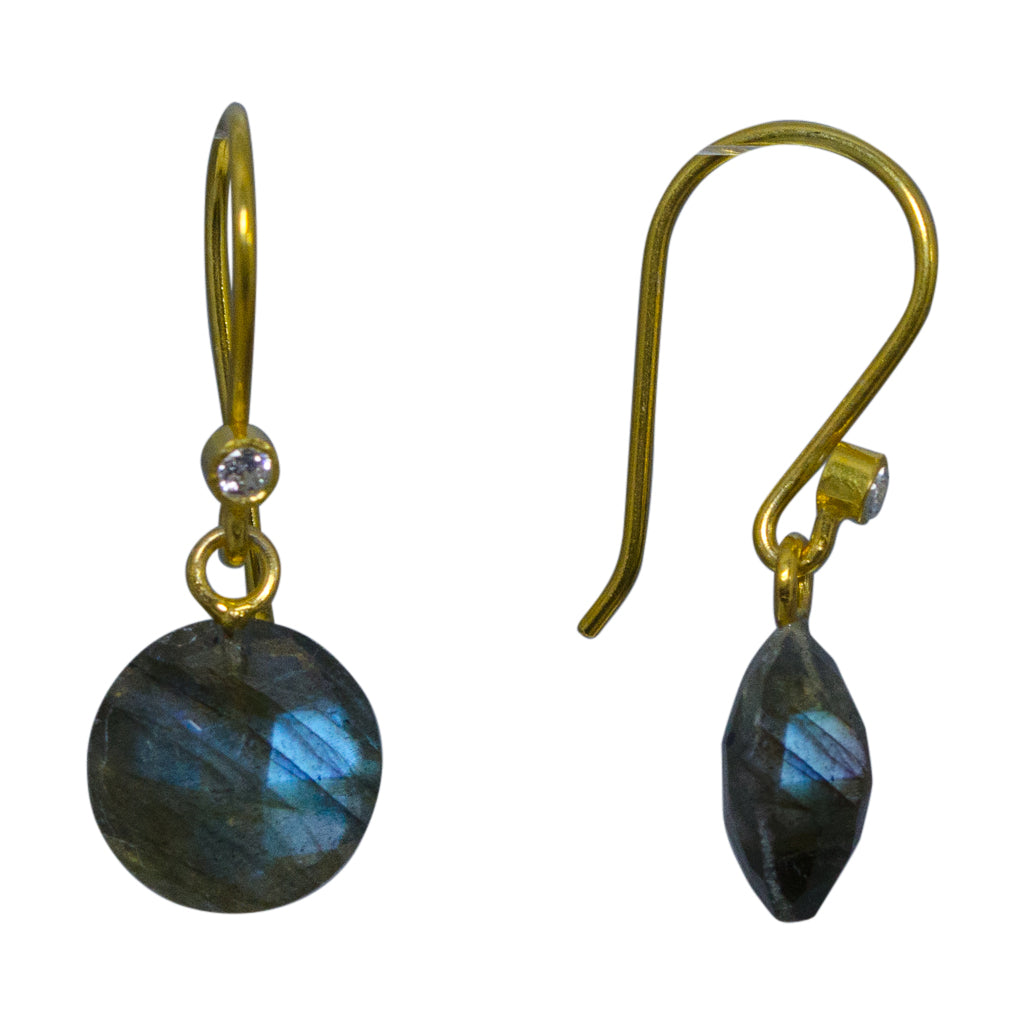 cute simple labradorite vermeil dangle circle earring