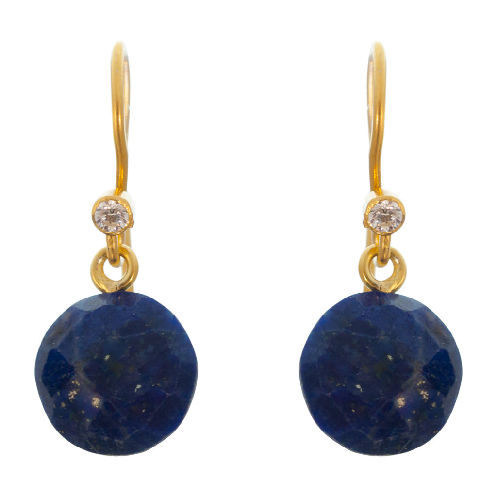 cute simple lapis navy blue vermeil gold dangle circle earrings
