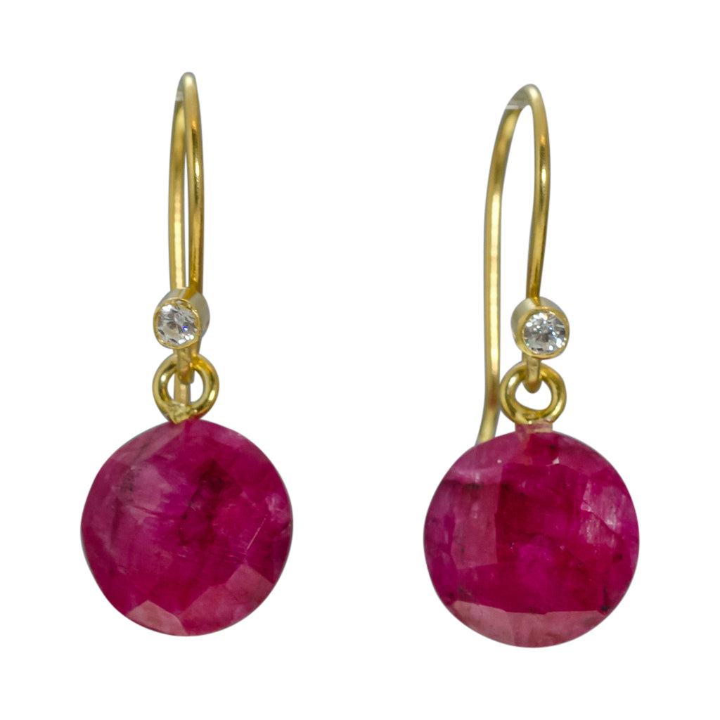 cute simple ruby pink vermeil gold dangle circle earring