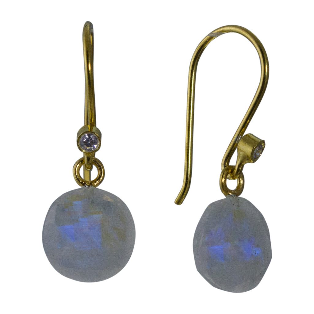 cute simple rainbow moonstone vermeil gold dangle circle earrings