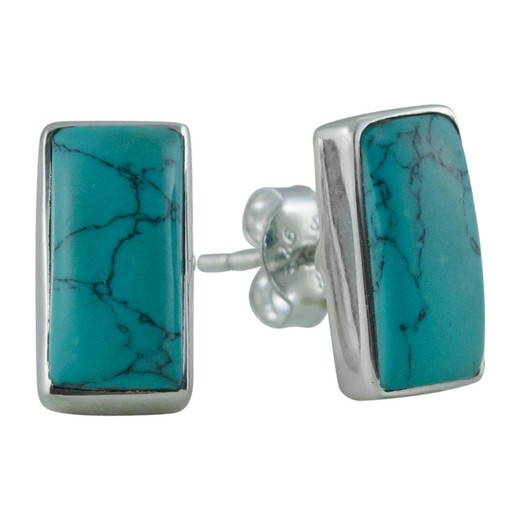 boho cute trendy silver turquoise post stud earrings rectangle