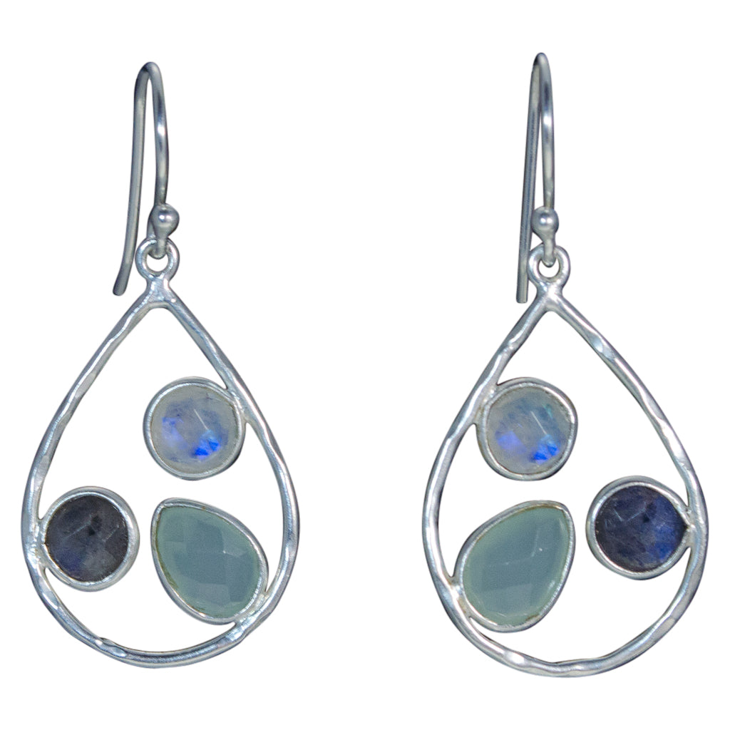 Three-stone Dangle Teardrop Labradorite Rainbow Moonstone Chalcedony