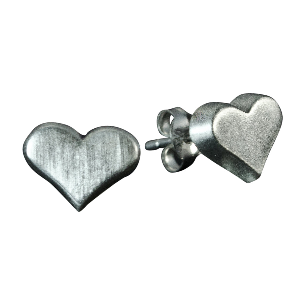 brushed silver heart post stud earring cute simple dainty