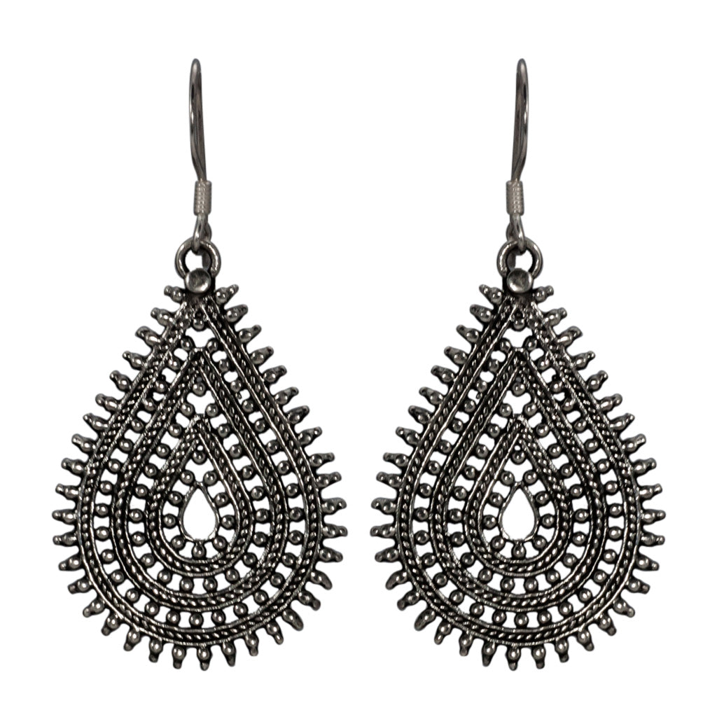 Earring Drop Spiky Cute Trendy Boho Style Affordable Silver