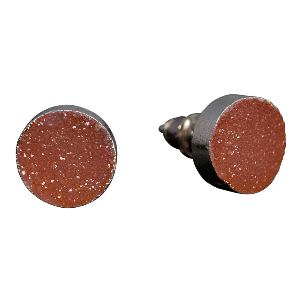 simple cute sparkle peach orange druzy stone silver post stud earrings