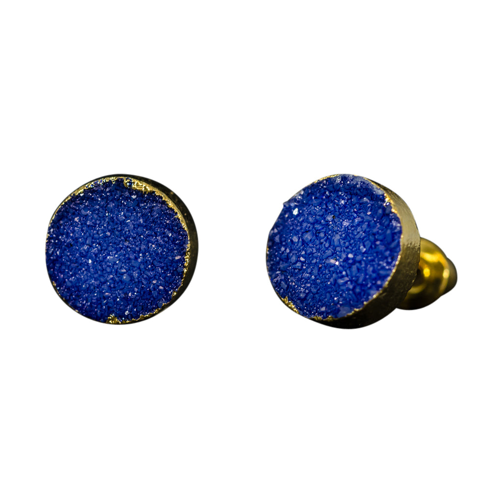 simple cute sparkle cobalt blue druzy stone vermeil post stud earrings