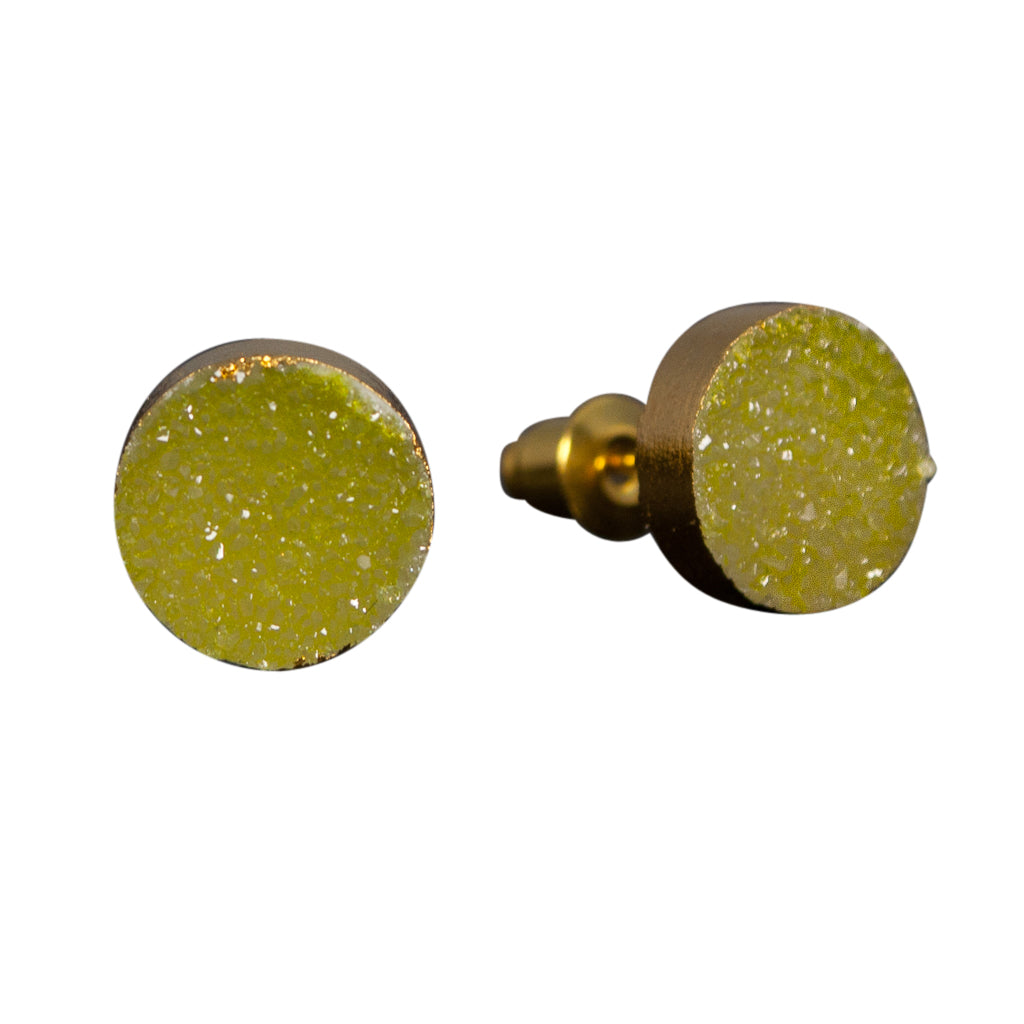 simple cute sparkle lime green druzy stone vermeil post stud earrings