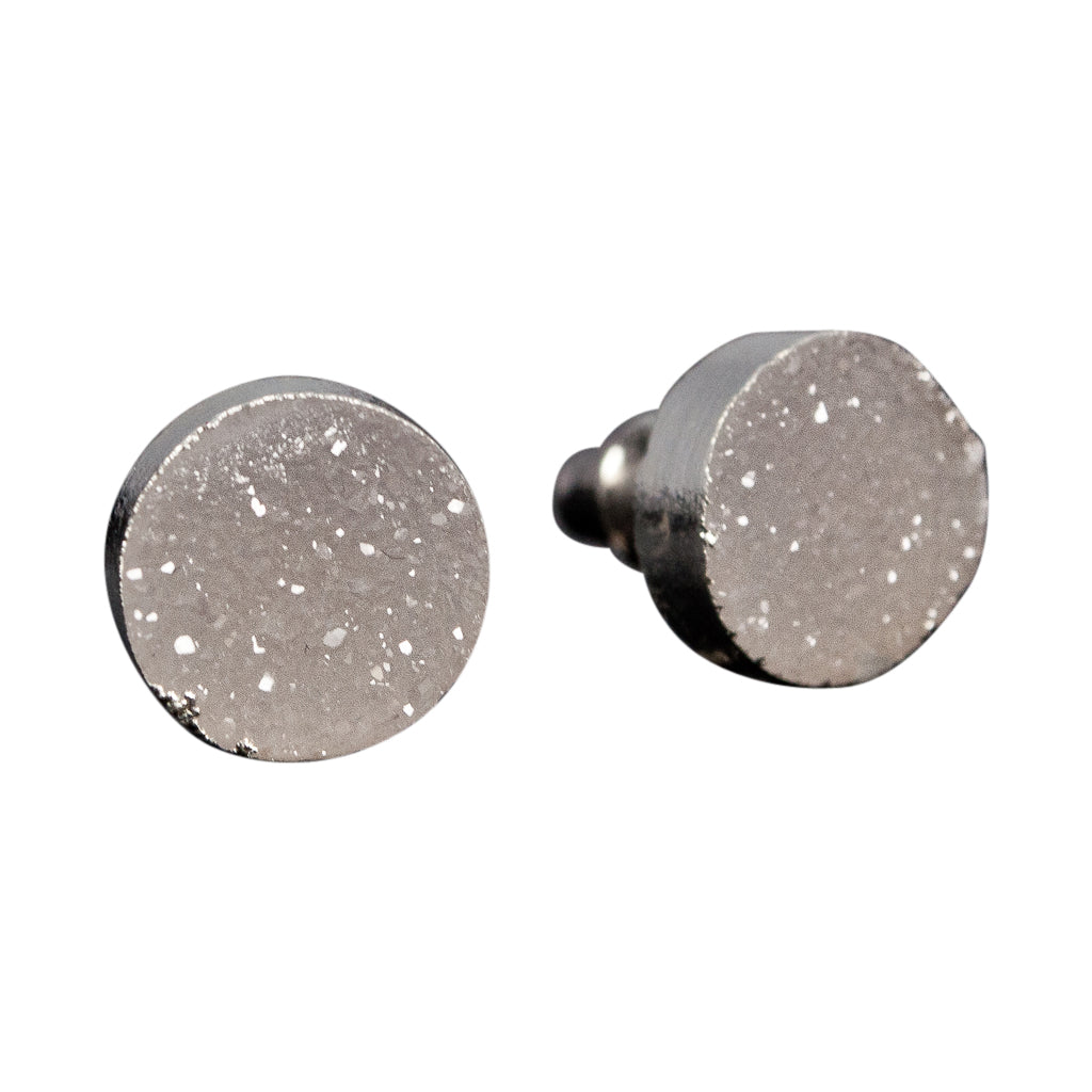 simple cute sparkle white druzy stone silver post stud earrings