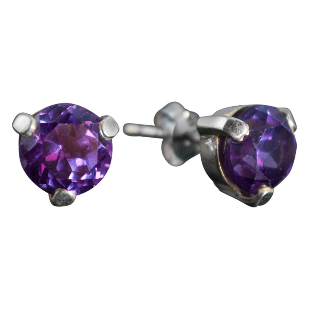 Purple Stud Silver Cute Round Faceted Post