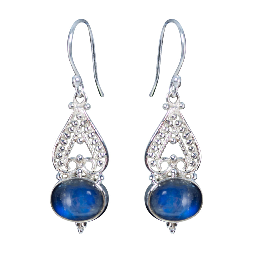 cute boho intricate silver electric rainbow blue stone dangle earring
