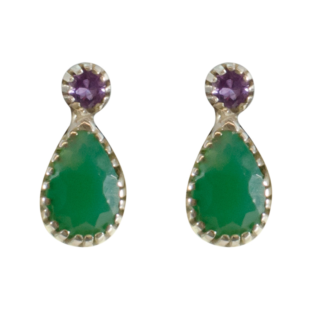 Green Purple Onyx Amethyst Pretty Post Stud Earring Cute Delicate Simple Lovely Style Stone