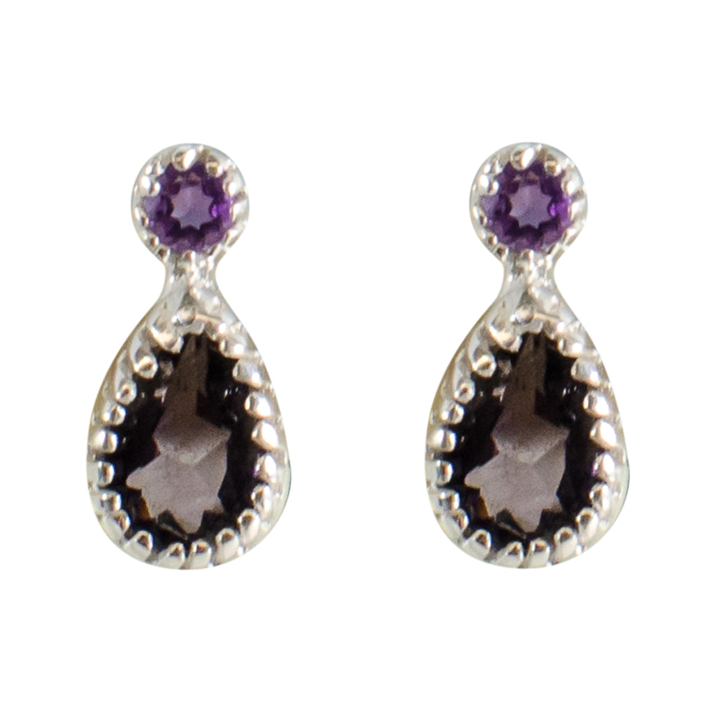 Amethyst Purple Stone Earring Post Stud Cute Elegant Pretty Light Small Tiny