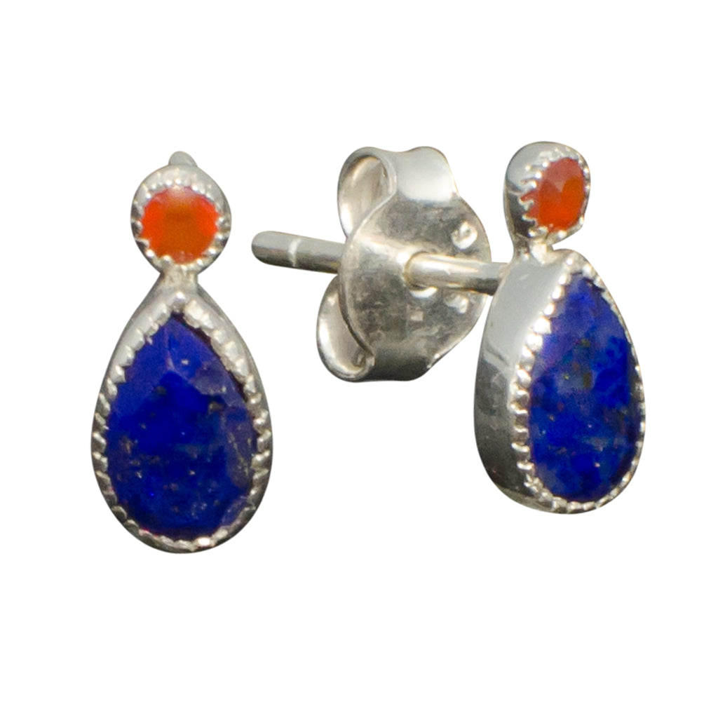 Lapis Carnelian Stone Earring Small Tiny Cute Delicate Pretty Orange Blue Silver Post Stud