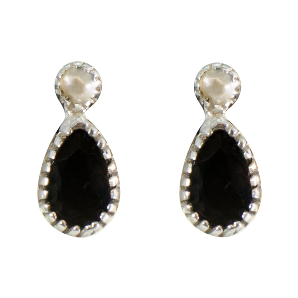 Onyx Pearl Black Earring Small Tiny Cute Delicate Post Stud Pretty Sparkly Stone Silver