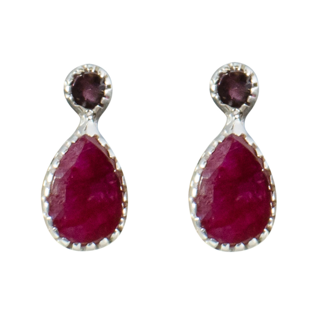 Stone Ruby Garnet Red Earring Silver Pretty Cute Shinny Delicate Post Stud