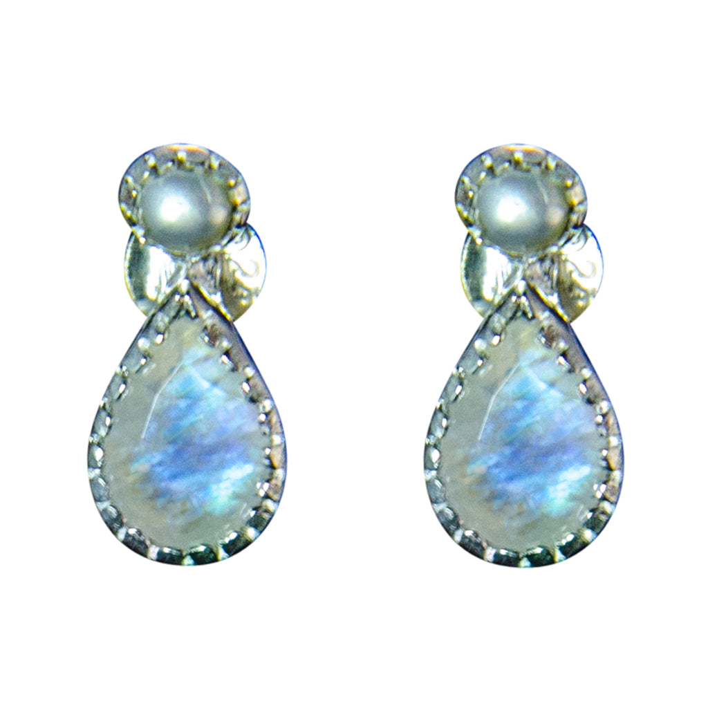Rainbow Moonstone Stone Earring Delicate Shinny Cute Pretty Tiny Small Silver Post Stud