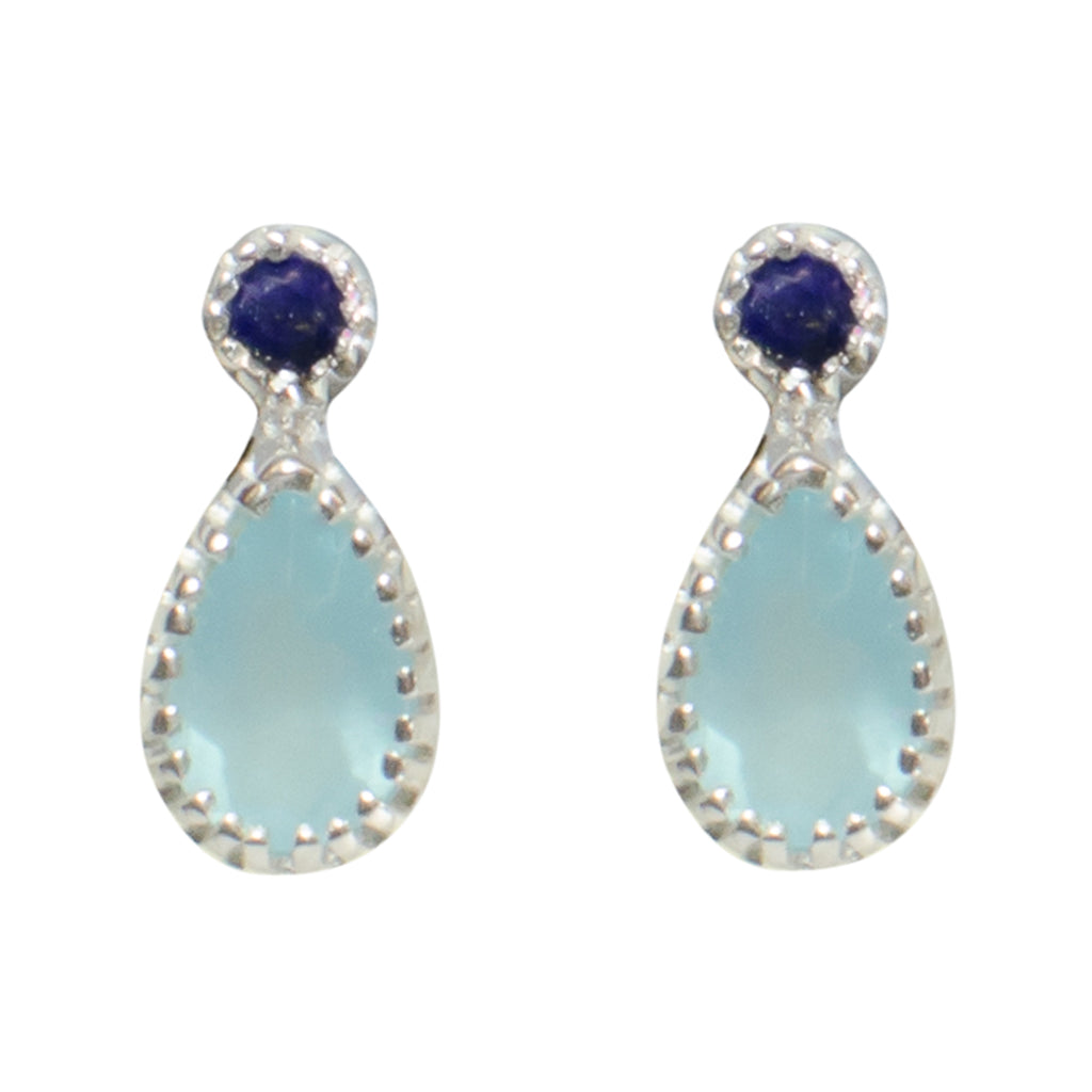 Earring Sky Blue Chalcedony Dark Blue Light Tiny Delicate Cute Stone Post Stud