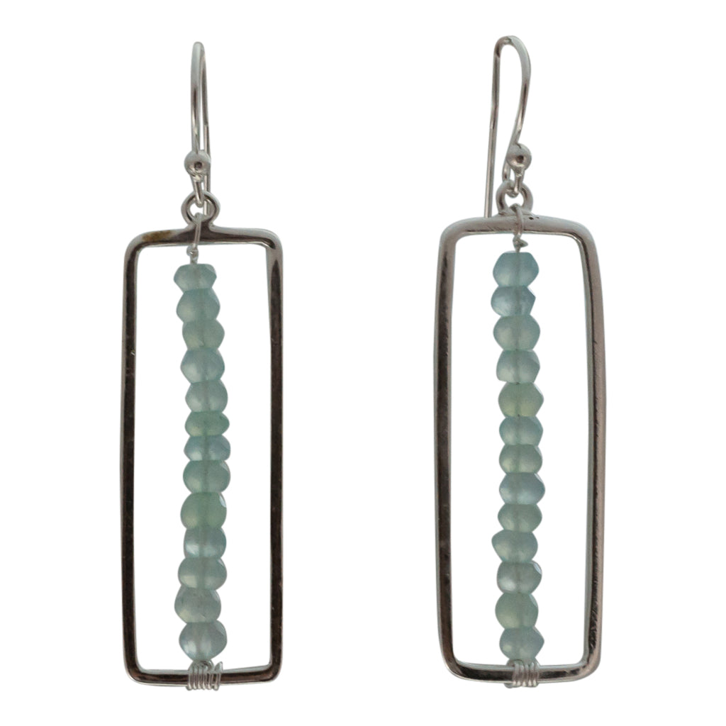 cute unique chalcedony light green blue ombre silver flag dangle earring