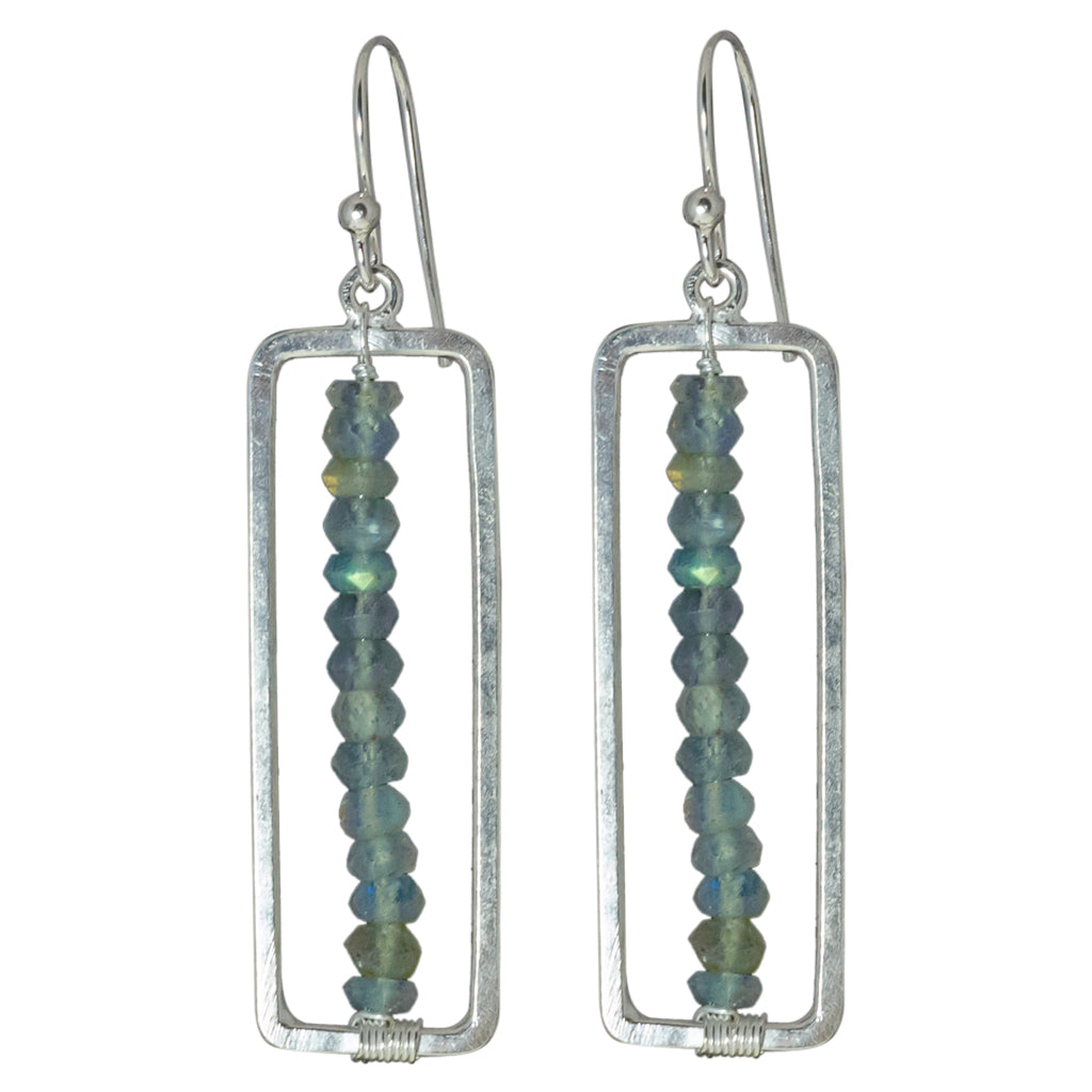 Labradorite Stone Silver Earring Cute Trendy Boho Stylish