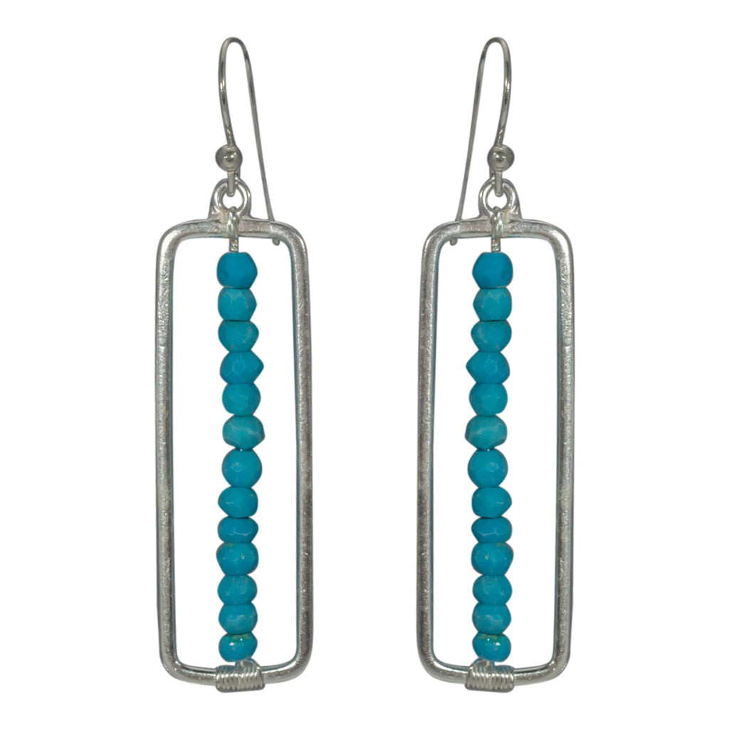 Silver Turquoise Earring Flag Rectangle Beaded Affordable Blue  Stylish