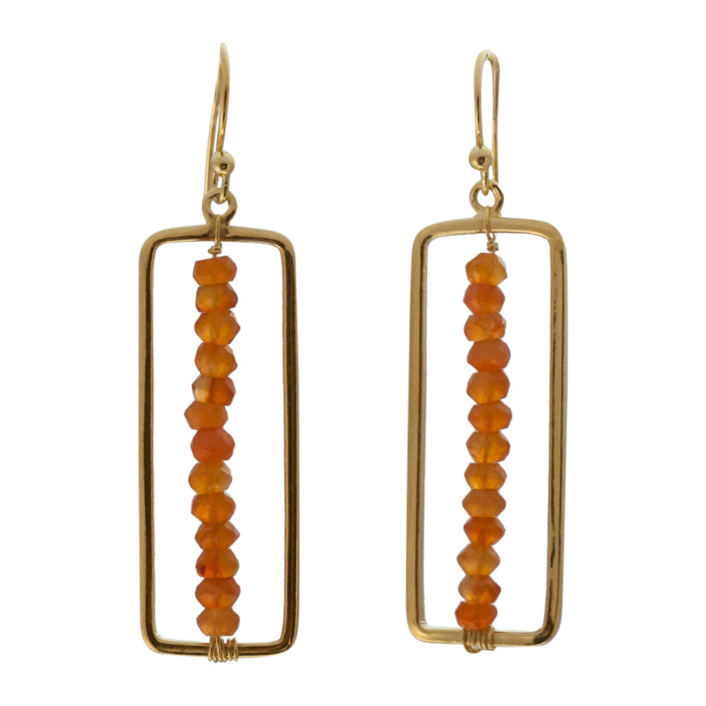 cute unique orange carnelian ombre vermeil flag dangle earring