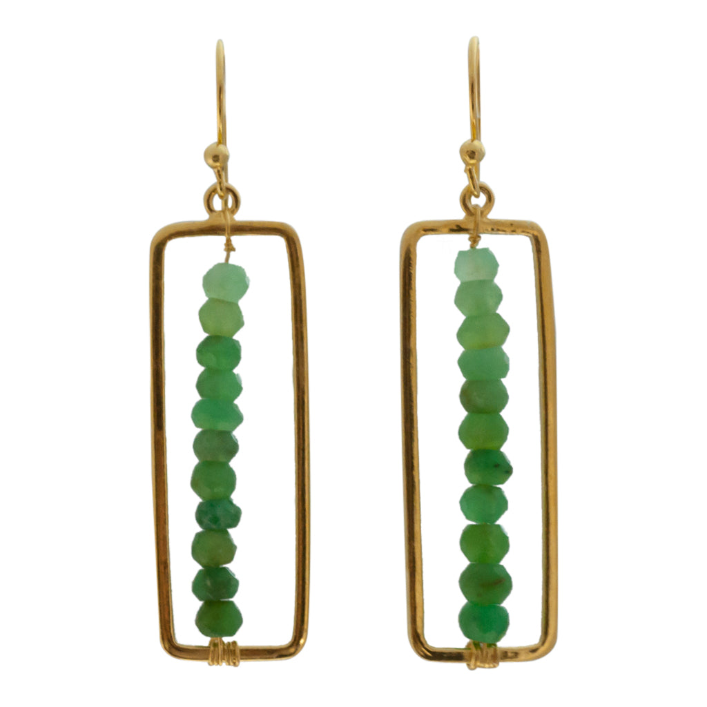 cute unique green onyx ombre vermeil flag dangle earring beaded