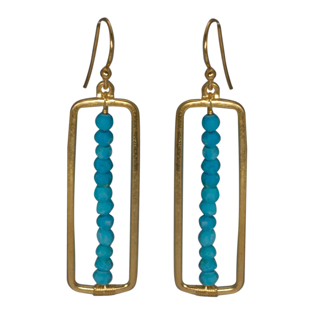 Vermeil Gold Turquoise Beaded Earring Dangle Pretty Trendy Boho Style
