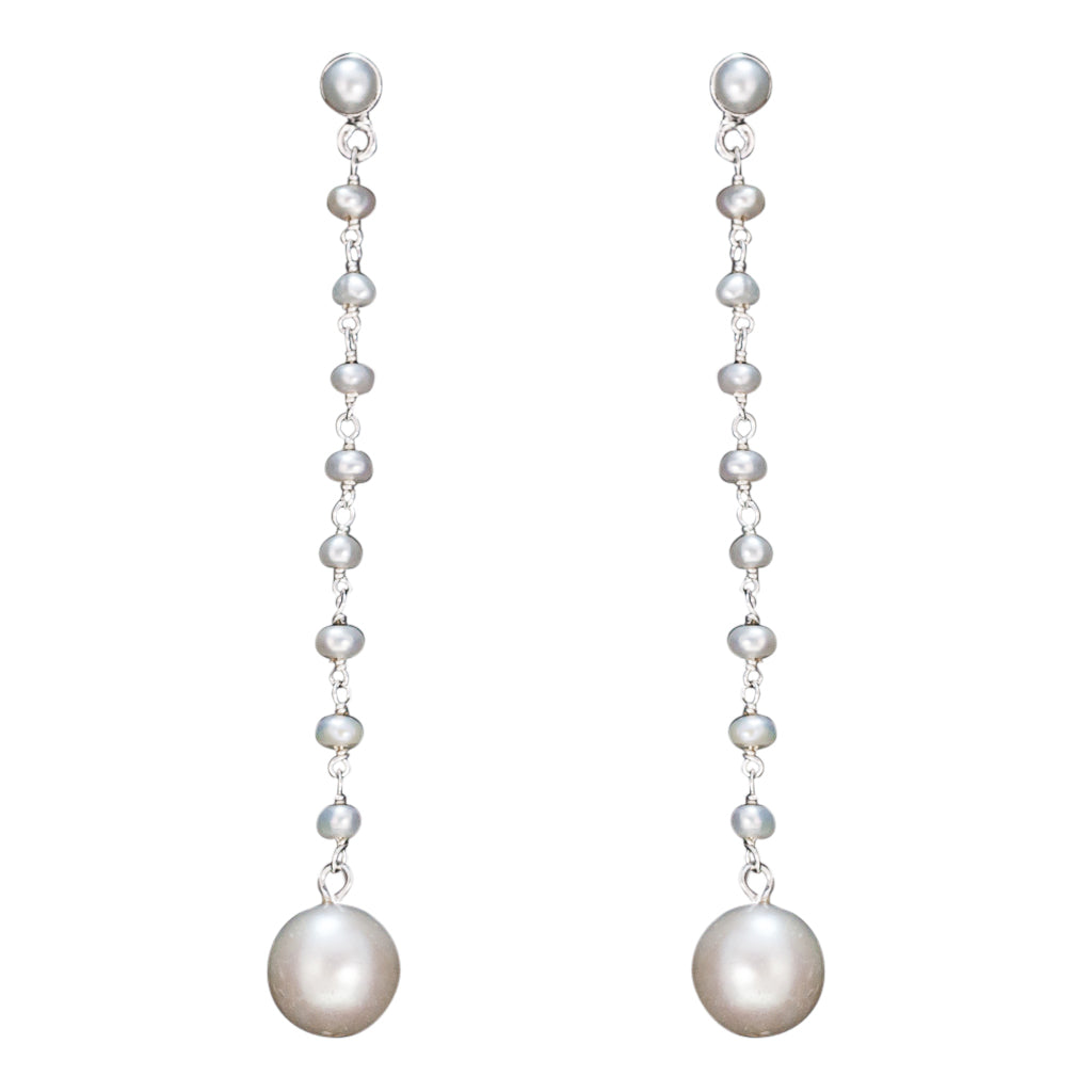 Chain Pearl Earring Elegant Classic Silver Long White Circle