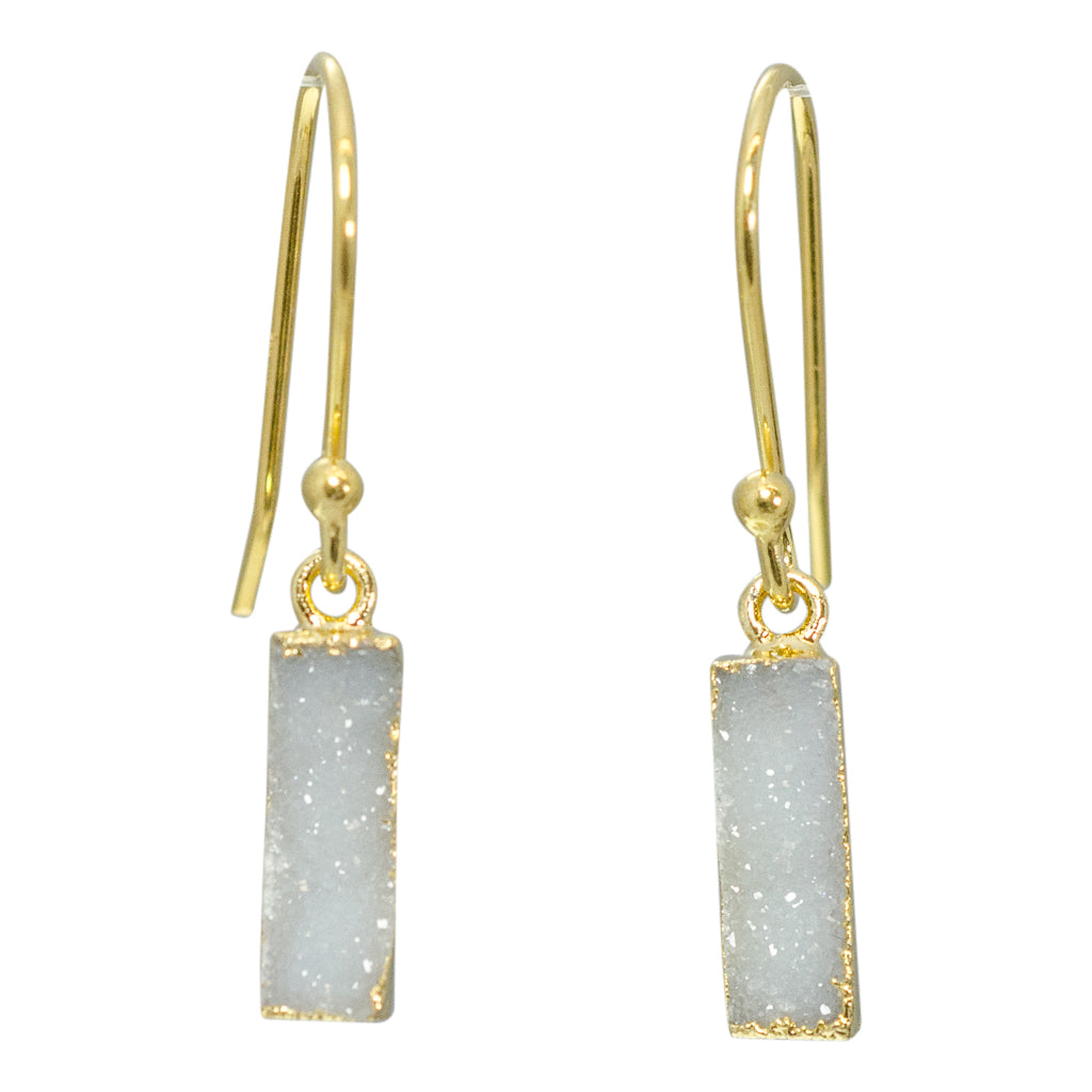 Sparkle White Gold Vermeil Dangle Druzy Earring Shiny Sparkle Pretty Trendy Boho Twiggy