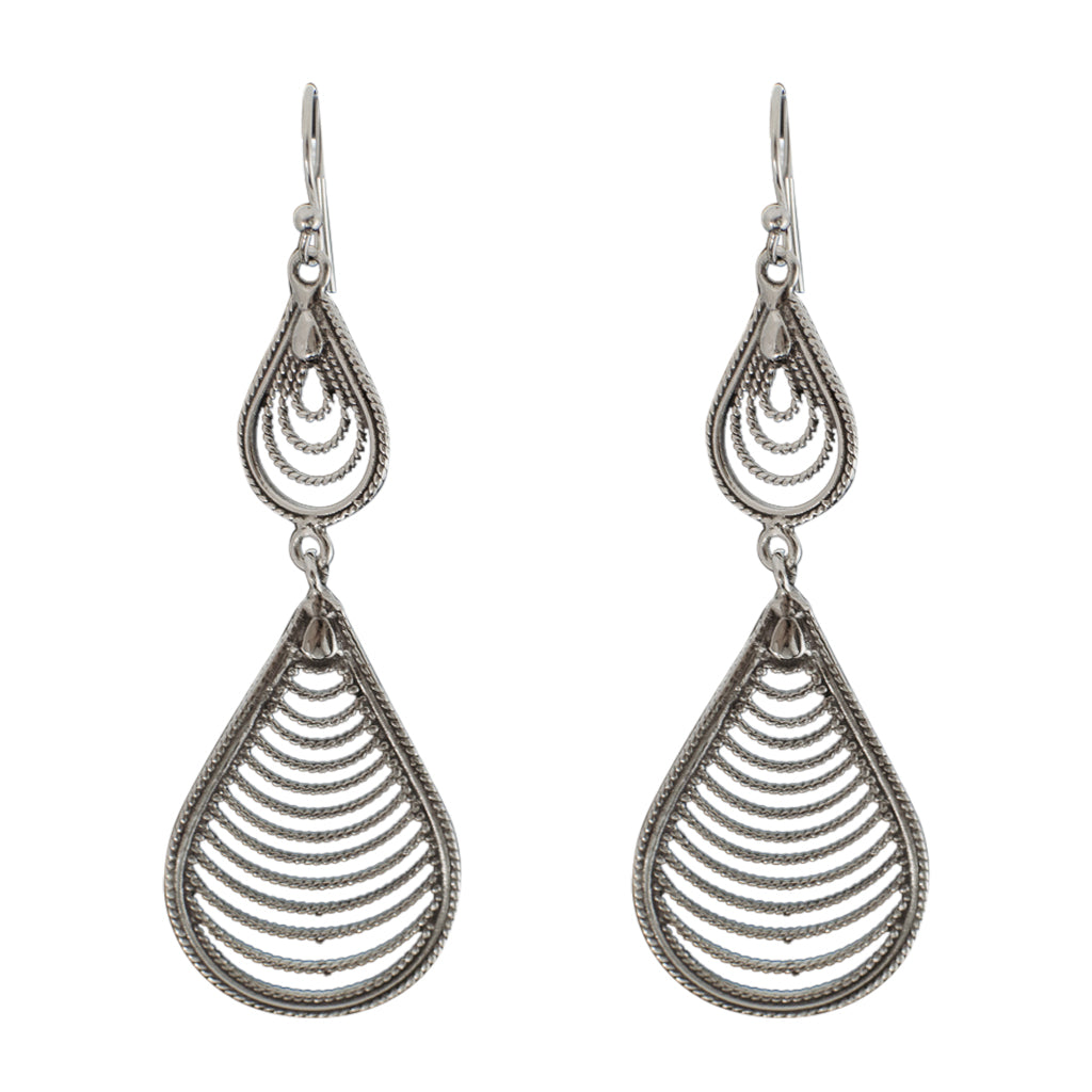 boho oxidized silver filigree drop dangle earring