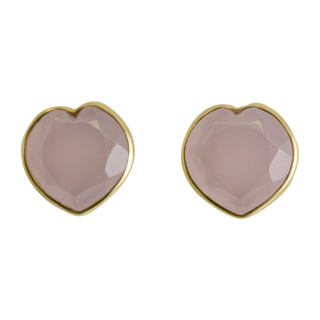 Stone Heart Post Stud Cute Simple Gold Vermeil Pink