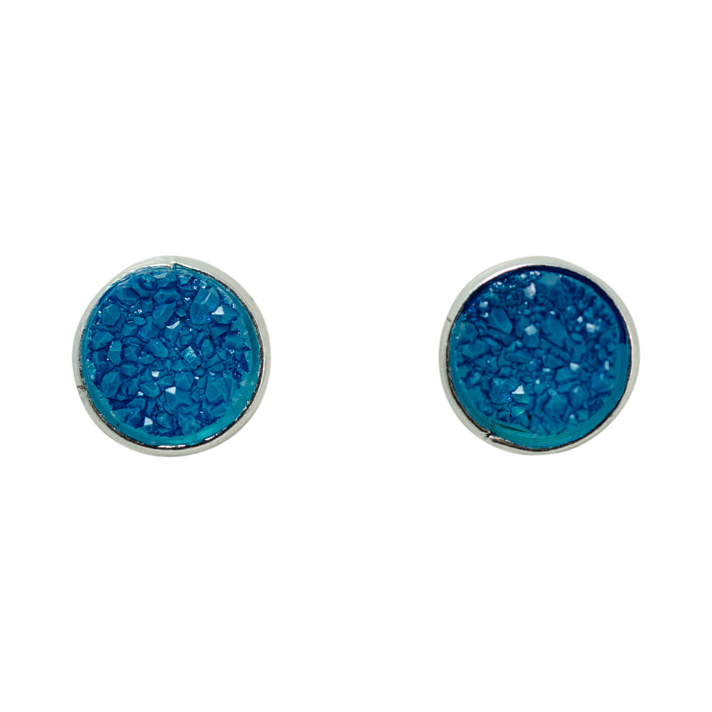 cute simple sparkle aqua blue silver post stud earrings