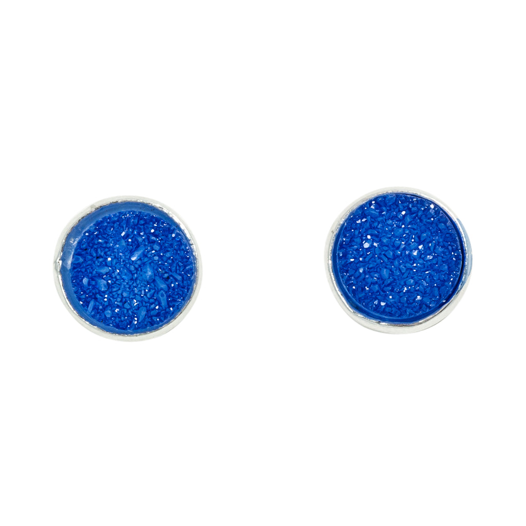 cute simple sparkle cobalt blue silver post stud earrings