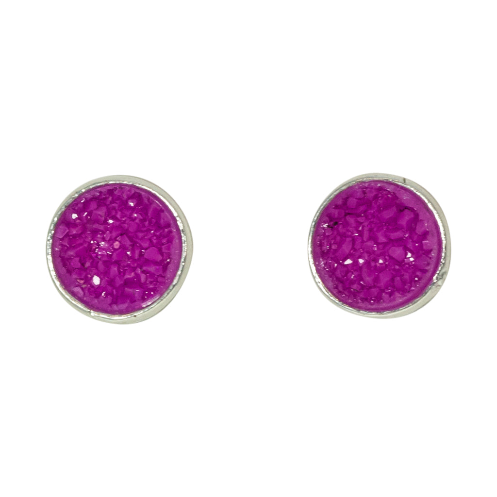 cute simple sparkle purple silver post stud earrings
