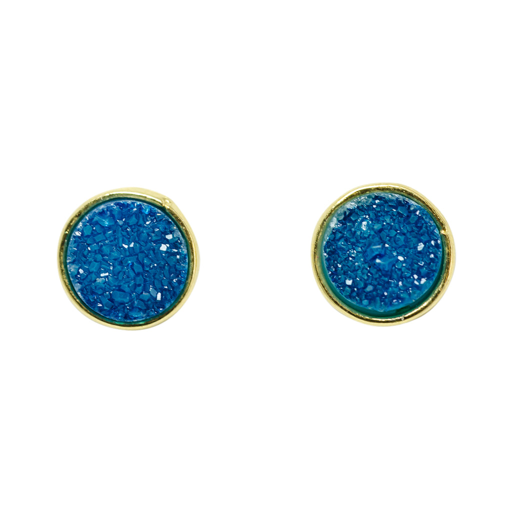 cute simple sparkle blue aqua vermeil post stud earrings