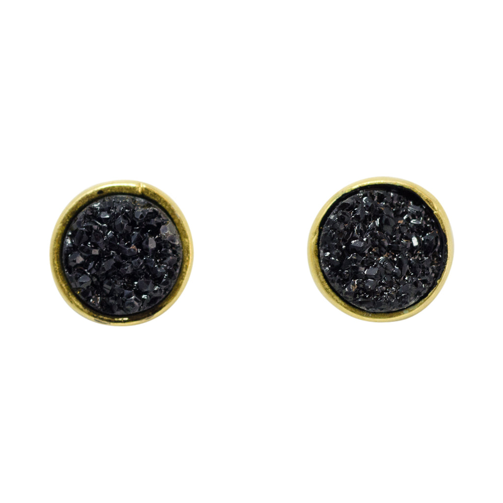 cute simple sparkle black vermeil post stud earrings