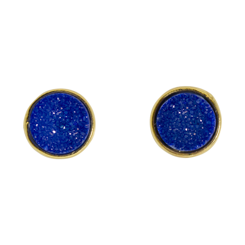 cute simple sparkle blue vermeil post stud earrings